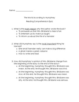 The World According to Humphrey- Comprehension Quiz