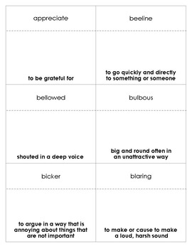 The World According to Humphrey Vocabulary Bingo