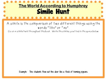 The World According to Humphrey by Betty G. Birney:  A Complete Novel Study!
