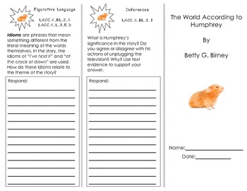 The World According to Humphrey trifold/ Journeys Common Core HMH