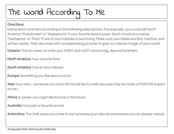 """The World According to Me - FUN Getting to Know You Activity """"All About Me"""""""
