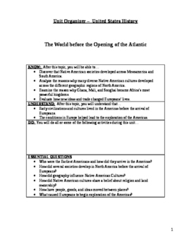 The World Before the Opening of the Atlantic Unit Plan/Organizer for Students
