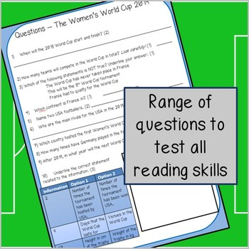 World Cup 2018 - Reading Comprehension activity