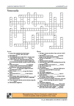 The World News Crossword - August 26th, 2018