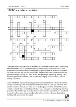 The World News Crossword - July 15th, 2018