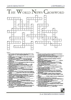 The World News Crossword - September 16th, 2018