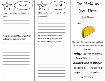 The World On Your Plate Trifold - 4th Grade Literacy by Design Theme 2