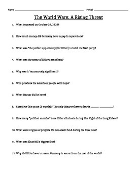 The World Wars A Rising Threat Video Guide And Answer Key By Globe Where In The World Worksheet Answers The World Wars A Rising Threat Video Guide And Answer Key