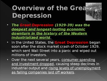 World Wars Era - Pre WW II - The Great Depression