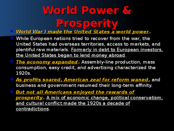World Wars Era - Post WW II Era - The United States in A New Age