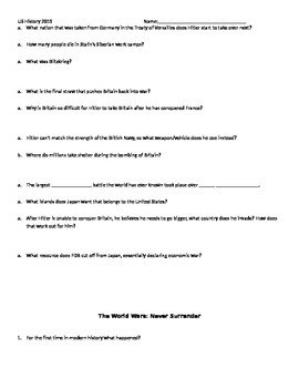 The World Wars History Channel Documentary Series Worksheets