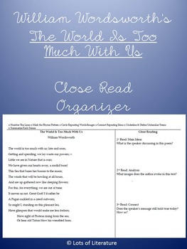The World is Too Much with Us William Wordsworth Close Read Organizer