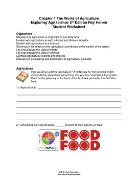 The World of Agriculture - Chapter Worksheet