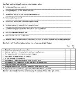 The World's Poorest President - Reading Comprehension Worksheet
