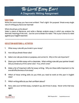 The Worst Essay of Your Life: A Diagnostic Essay FREEBIE | TpT
