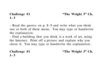 """The Wright 3"", by B. Balliett, Challenges"