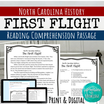The Wright Brother's First Flight Reading Comprehension Passage
