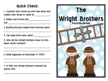 The Wright Brothers- A non-fiction minibook and craftivity