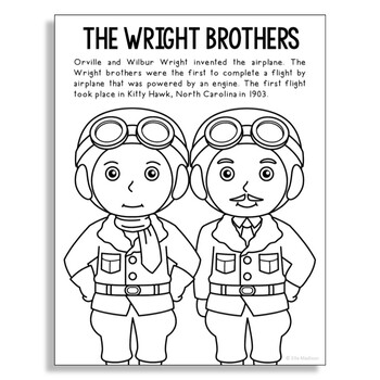 The Wright Brothers Coloring Page Craft or Poster, STEM Technology History