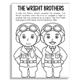 THE WRIGHT BROTHERS Inventor Coloring Page Craft or Poster, STEM History