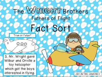 The Wright Brothers: Fact Sort FREEBIE