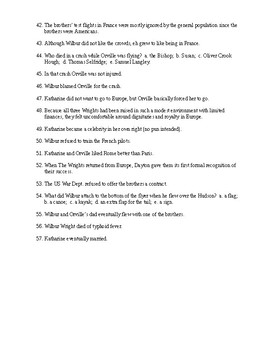 The Wright Brothers Reading Check Test/Quiz