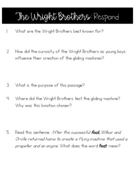 The Wright Brothers Differentiated Reading Passage and Comprehension Questions