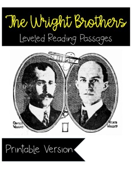 The Wright Brothers Differentiated Reading Passage and Com