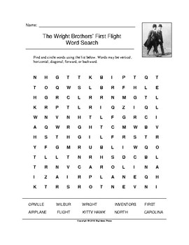 The Wright Brothers' First Flight Word Search (Grades 3-5)