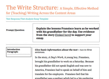 """The Write Structure Text Response Essay """"A Day's Work"""""""