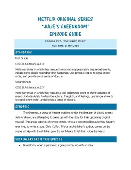 The Write Stuff: Julie's Greenroom Episode Viewing Guide