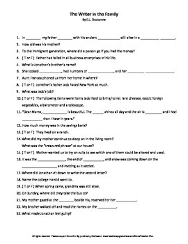 The Writer in the Family by E .L. Doctorow Complete Guided Reading Worksheet
