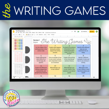 The Writing Games! Dice Review Game for Research & Writing Skills