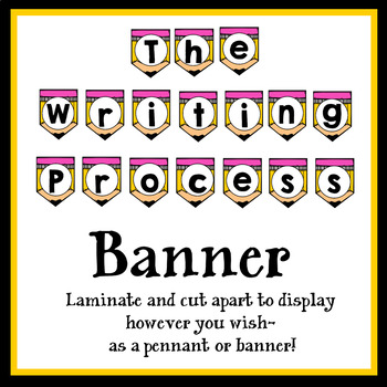 The Writing Process Banner, Pennant and Posters- Multiple Versions