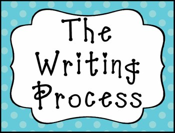 The Writing Process Clip Chart - Blue and Green Polka Dot Design - Free Version