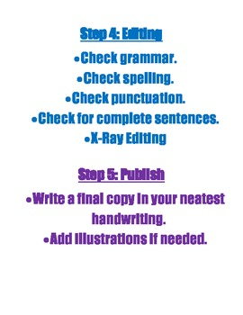 The Writing Process Poster and Student Copy
