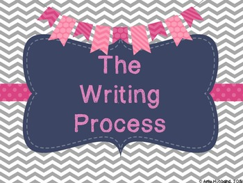 The Writing Process Posters/Hanging Charts - Gray, Navy, and Pink