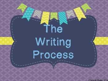 The Writing Process Posters/Hanging Charts - Purple, Yellow, and Navy