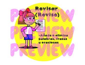 The Writing Process Round Mini Posters (Bilingual Spanish)