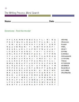 The Writing Process Word Search