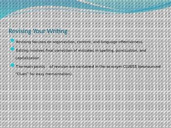 The Writing Process: Writing, Revising, and Editing