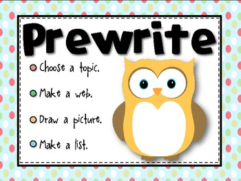 The Writing Process poster pack- Owls