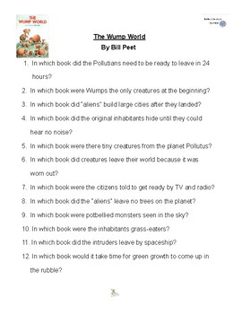The Wump World by Bill Peet, Battle of the Books Questions