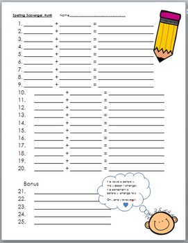 The Y Rule - Scavenger Hunt Cards and Recording Sheet