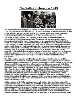 The Yalta Conference 1945 Article with Summary Assignment