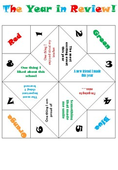 The Year in Review! Cootie Catcher