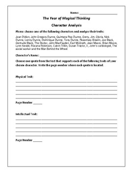 The Year of Magical Thinking Character Analysis Activity -