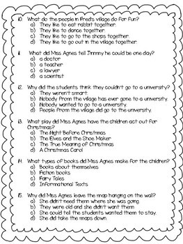 The Year of Miss Agnes Comprehension Assessment