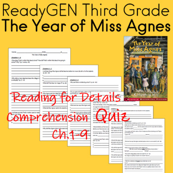 The Year of Miss Agnes Reading for Details Comprehension Quiz