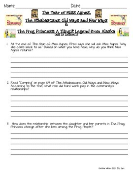The Year of Miss Agnes, The Athabascans, & The Frog Princess  ReadyGen Lesson 18